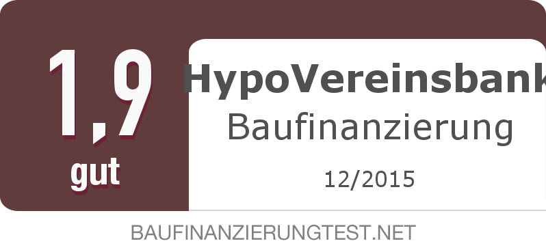 Testsiegel: HypoVereinsbank Baufinanzierung width=