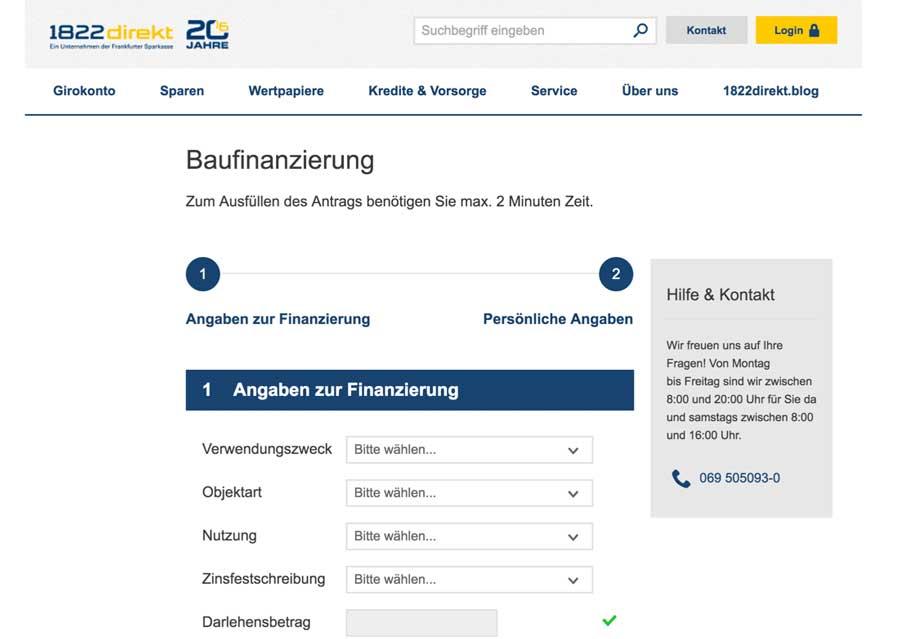 Die Webseite der 1822direkt