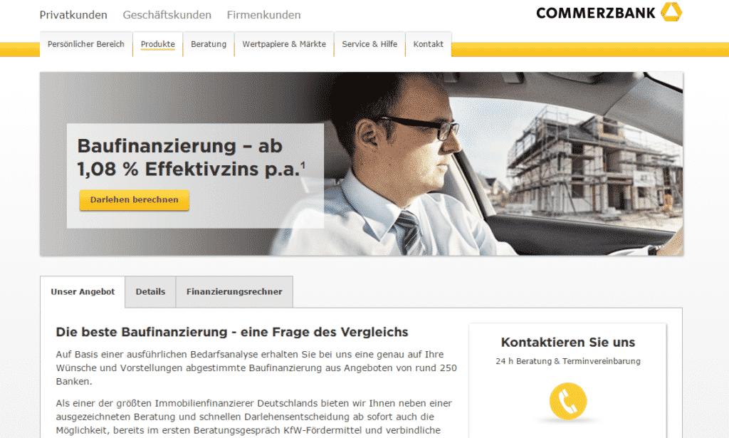 Die Webseite der Commerzbank
