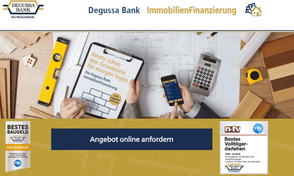 Die Webseite der Degussa