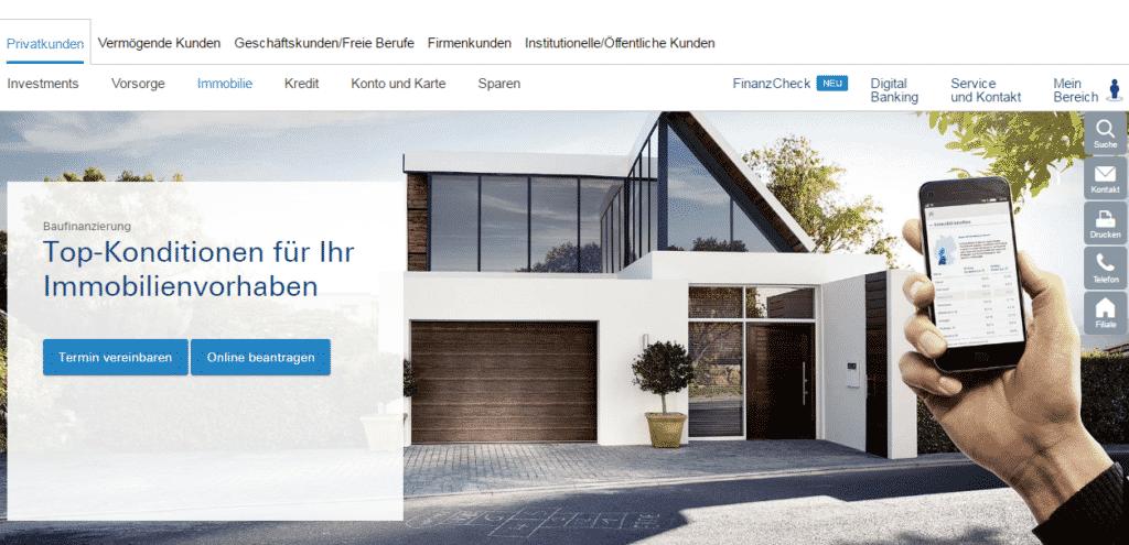 Die Webseite der Deutschen Bank