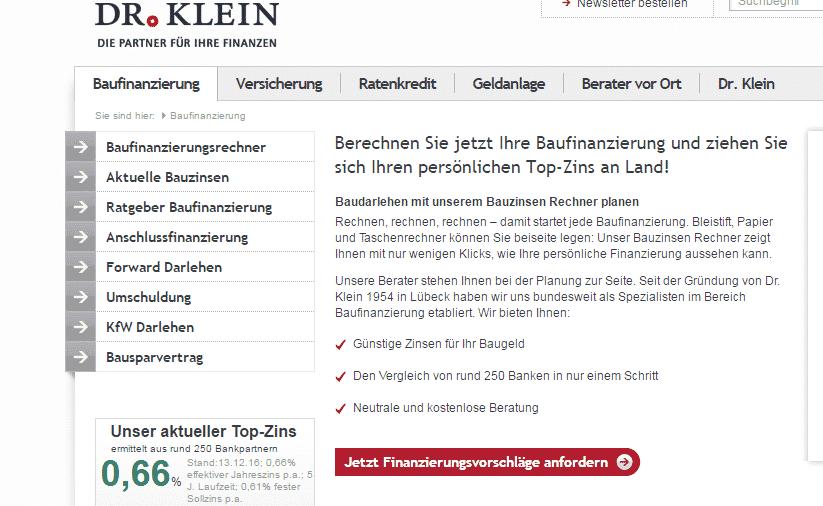 Der Internetauftritt von Dr. Klein