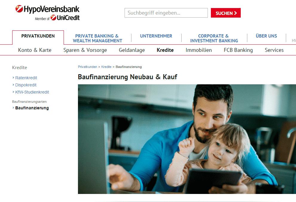 Die Webseite der HypoVereinsbank