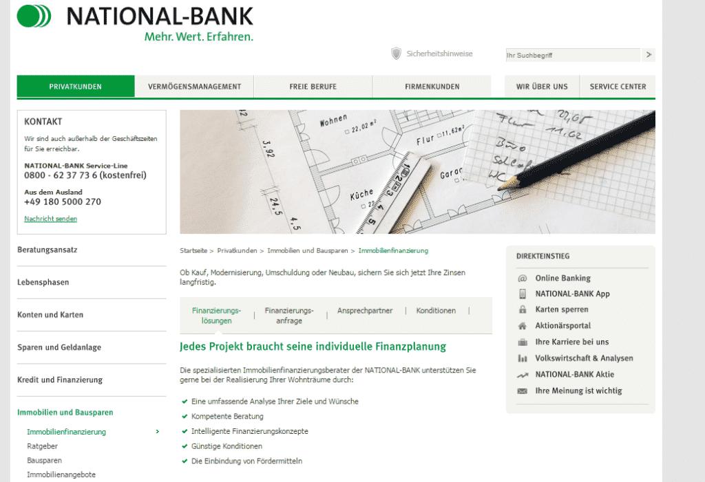 Die Webpräsenz der National-Bank
