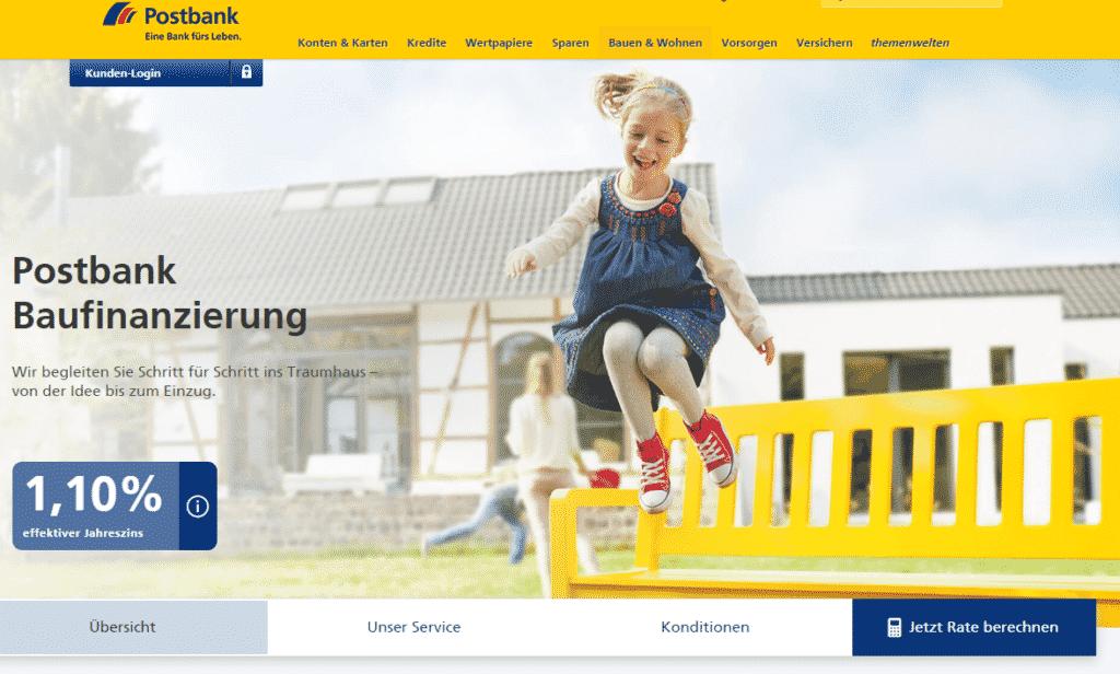 Die Webseite der Postbank