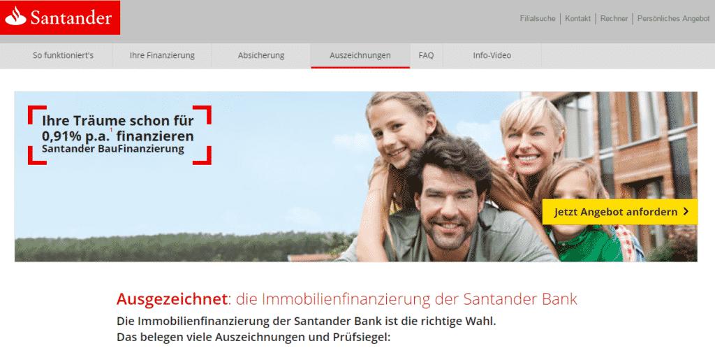Die Webseite der Santander