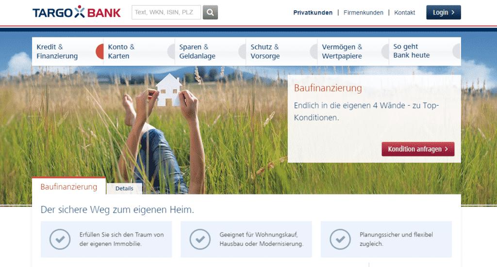 Webauftritt der Targobank